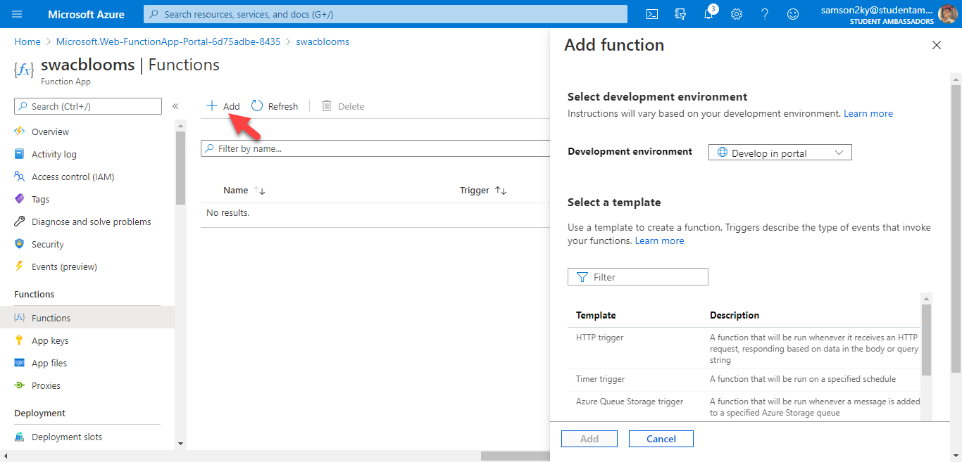 Add function to Azure Functions App