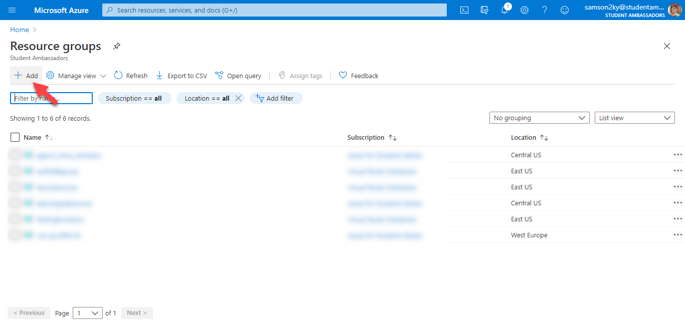 Add new Azure resource group