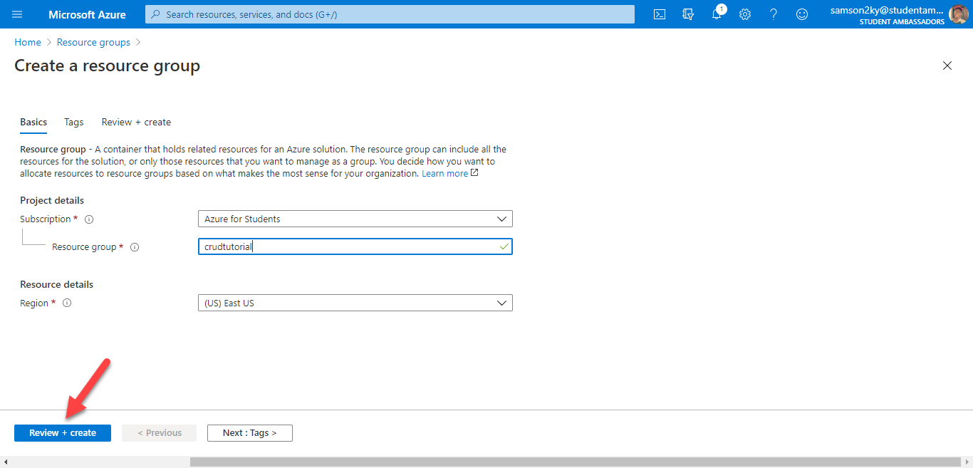 Define new Azure resource group