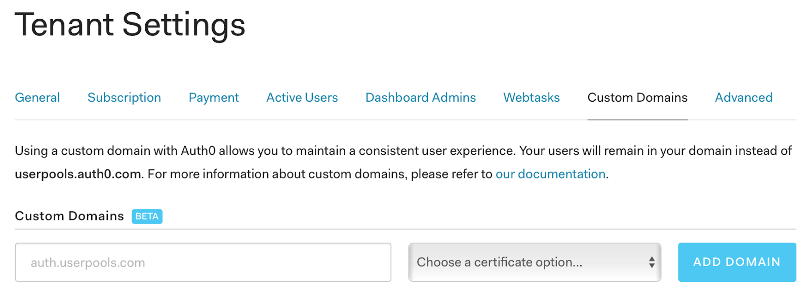 Auth0 custom domains tenant settings