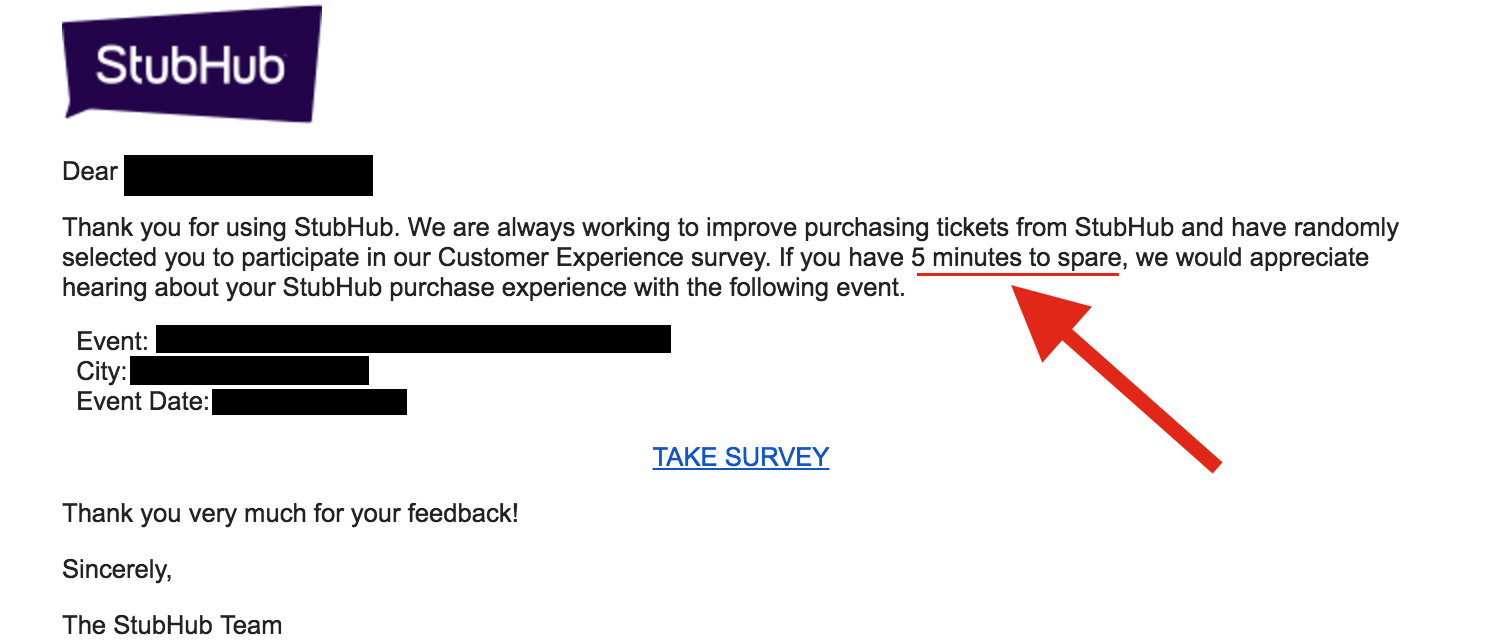 StubHub not-so-short survey