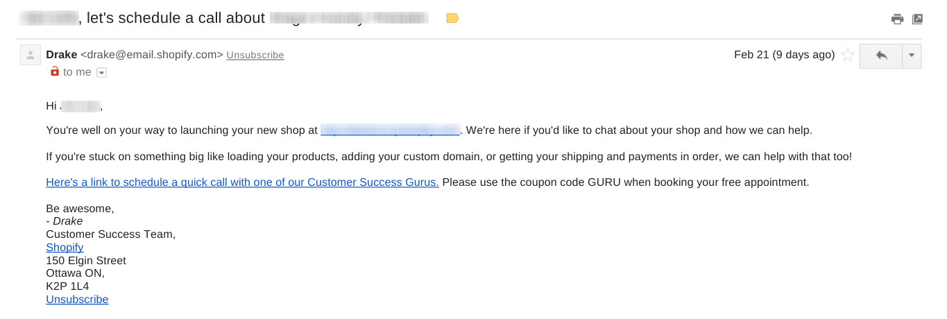 Shoppify Customer Support Onboarding Email