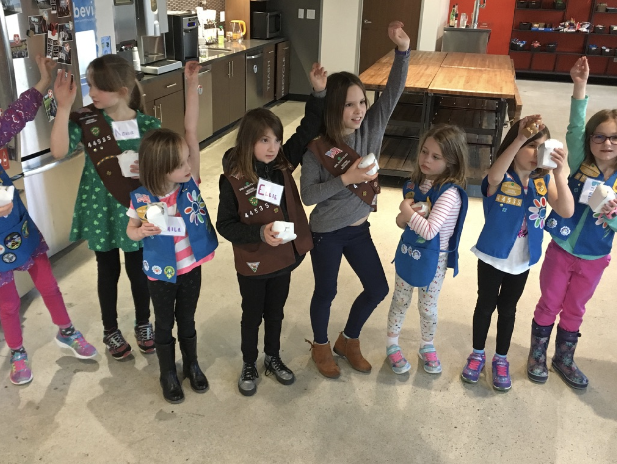 Girl Scouts lined up for the egg drop exercise