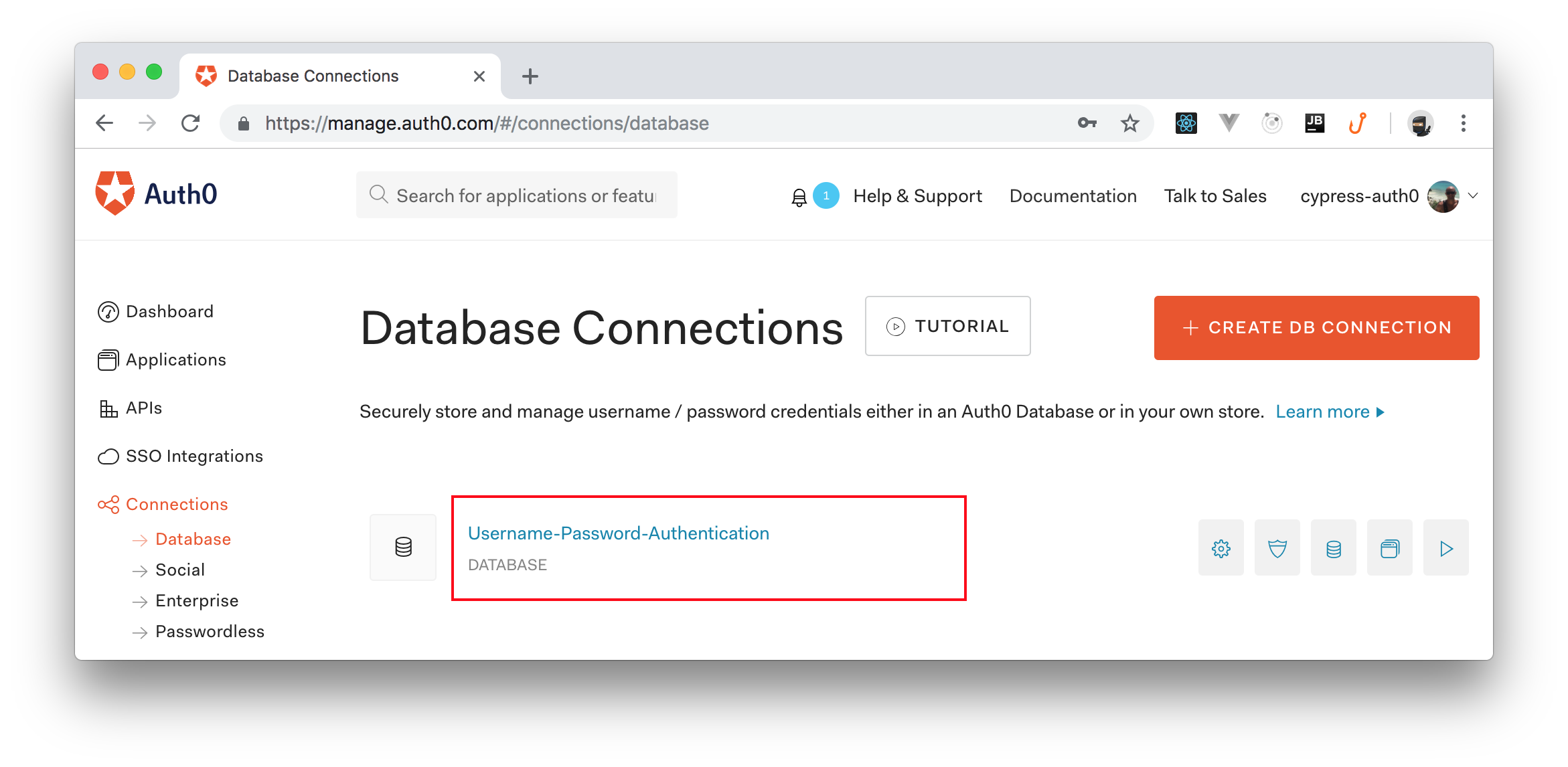 Auth0's default database connection.
