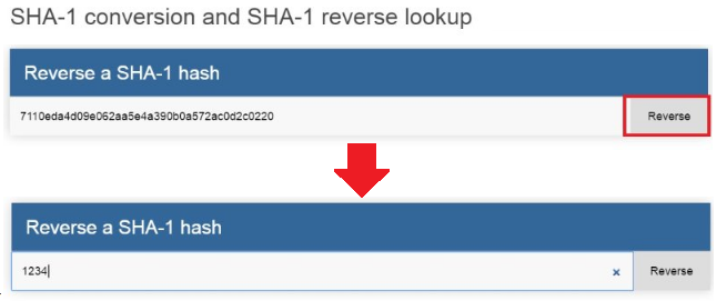 SHA-1 conversion and lookup