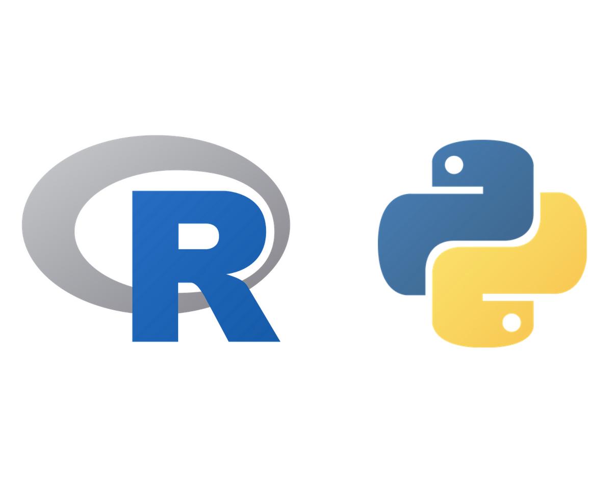 R and Python logos