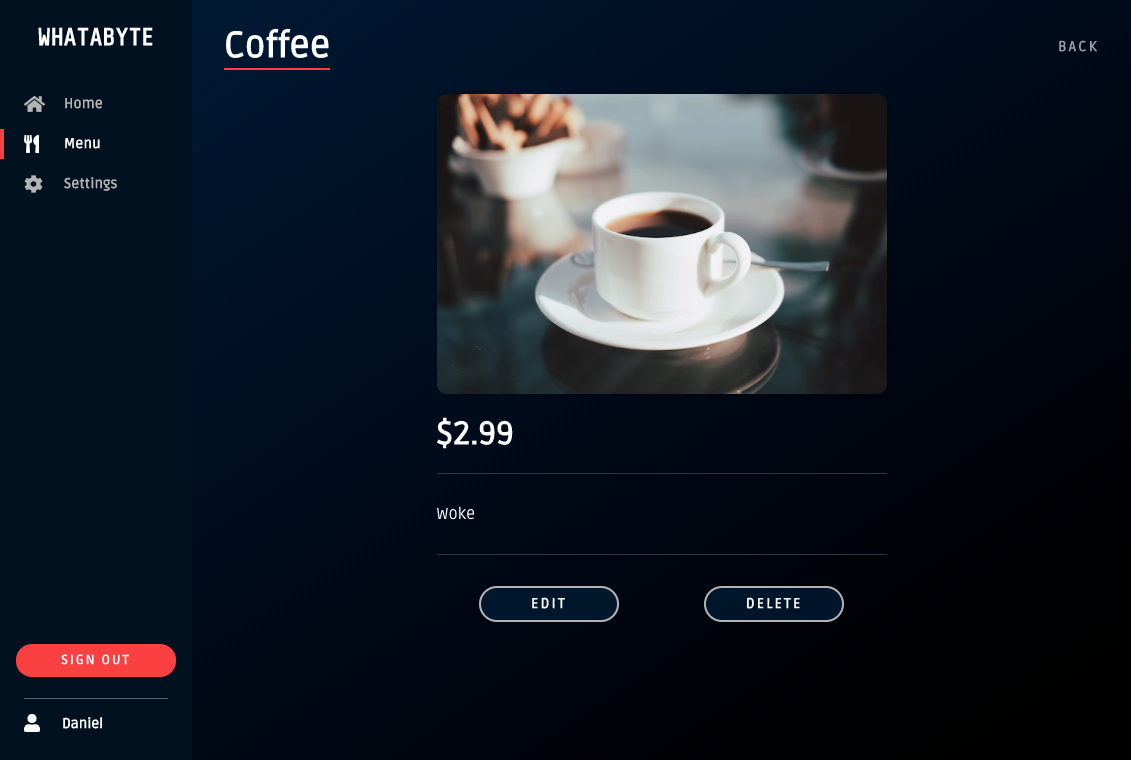 WAB Dashboard showing a newly added menu item, coffee