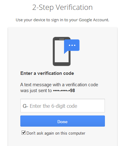 Example of two factor authentication using a Google Account