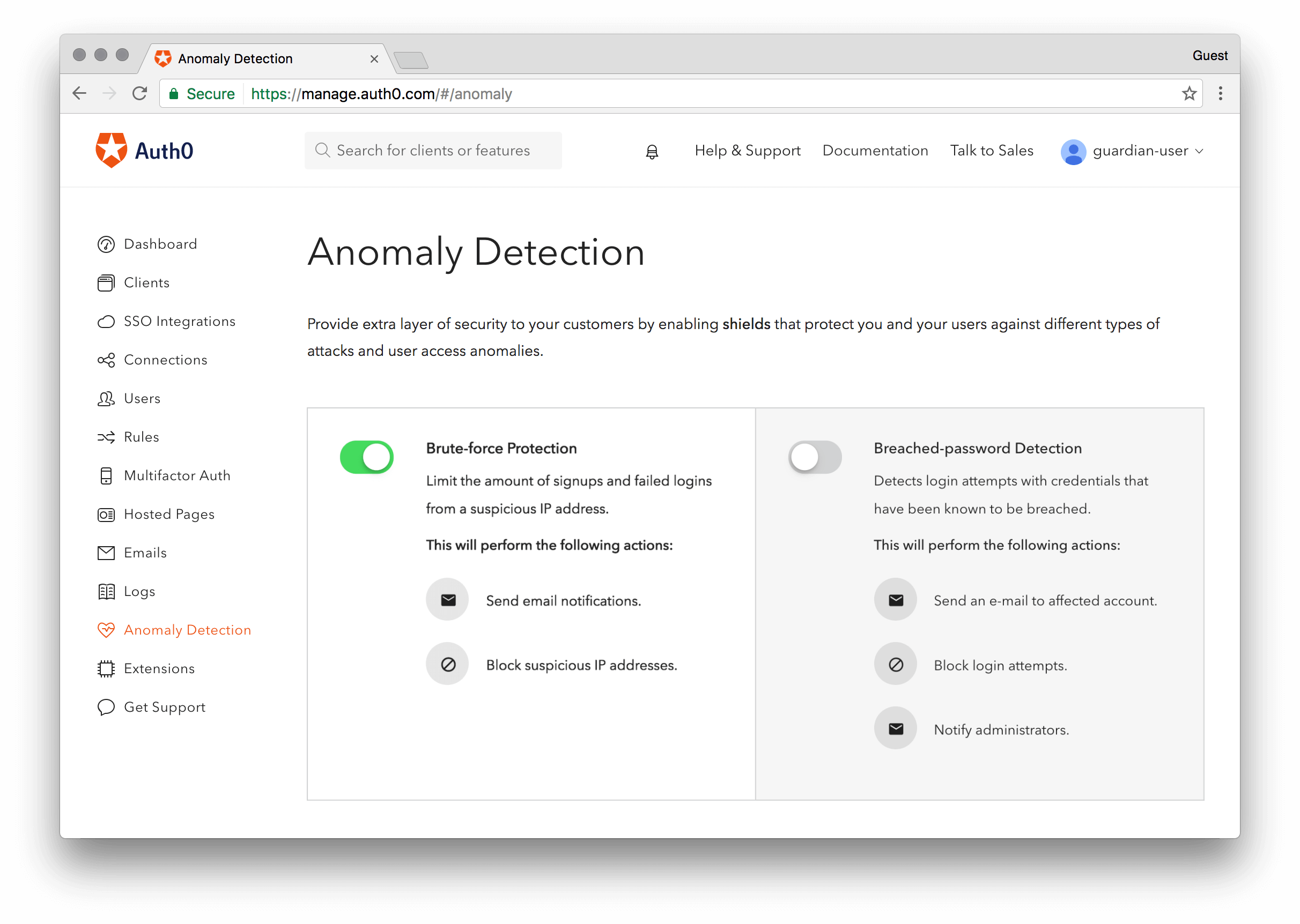 View of Auth0 Anomaly Detection interface