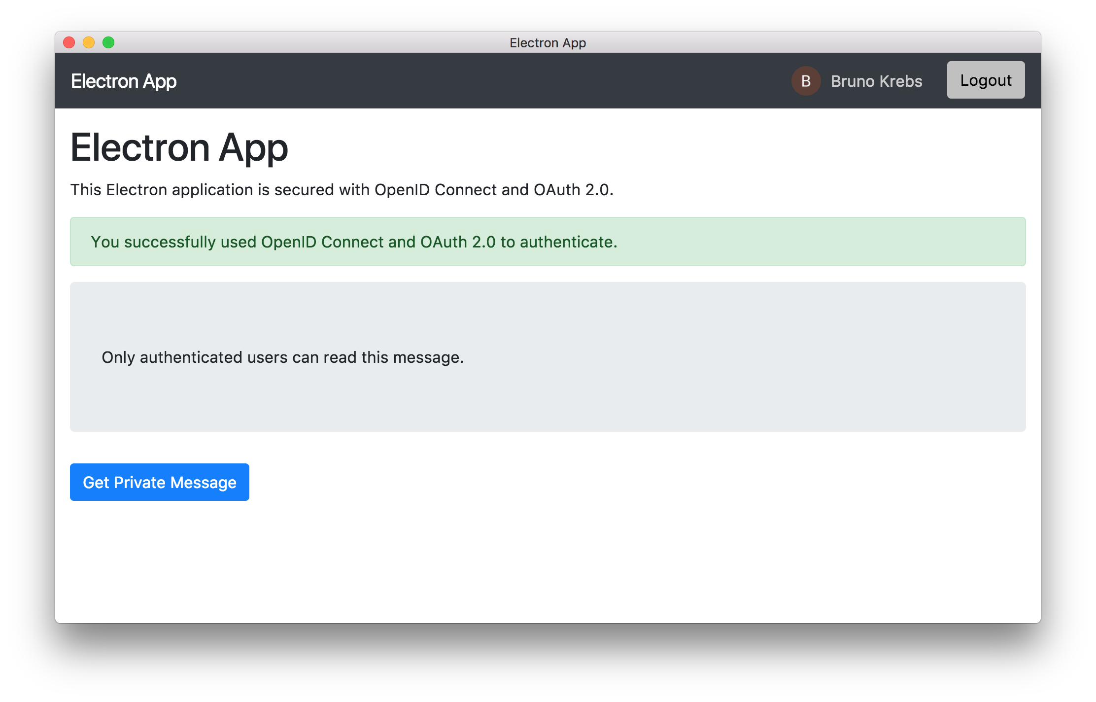 Running an Electron application secured with OpenID Connect and OAuth 2.0.