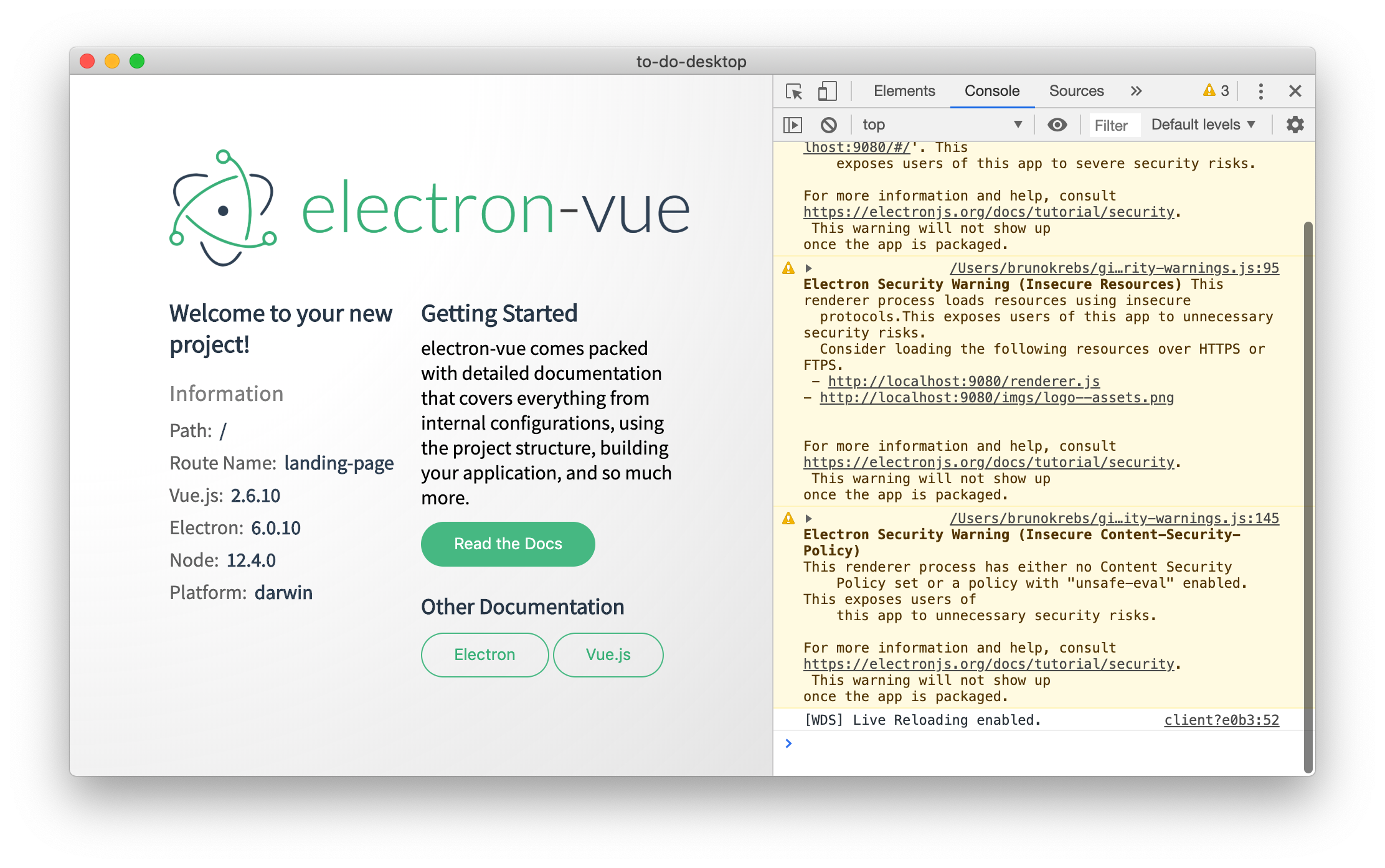 Electron and Vue.js getting started page.