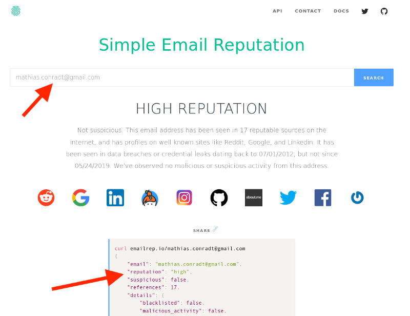 High Email Reputation Score Example