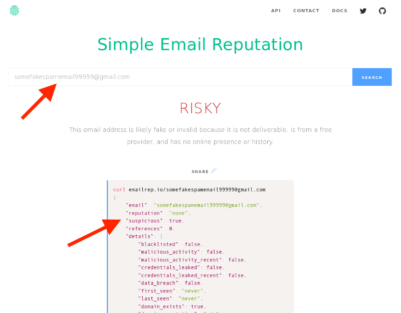 Risky Email Reputation Score Example