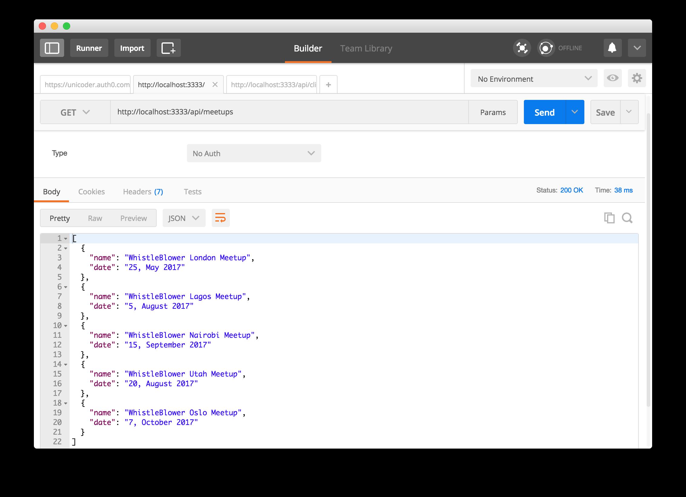 API serving meetups