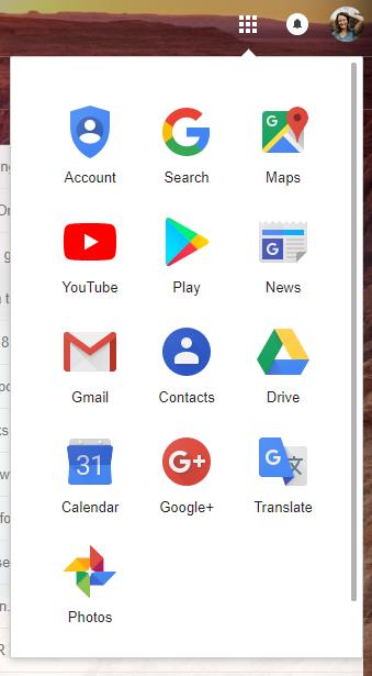 Google G Suite apps panel