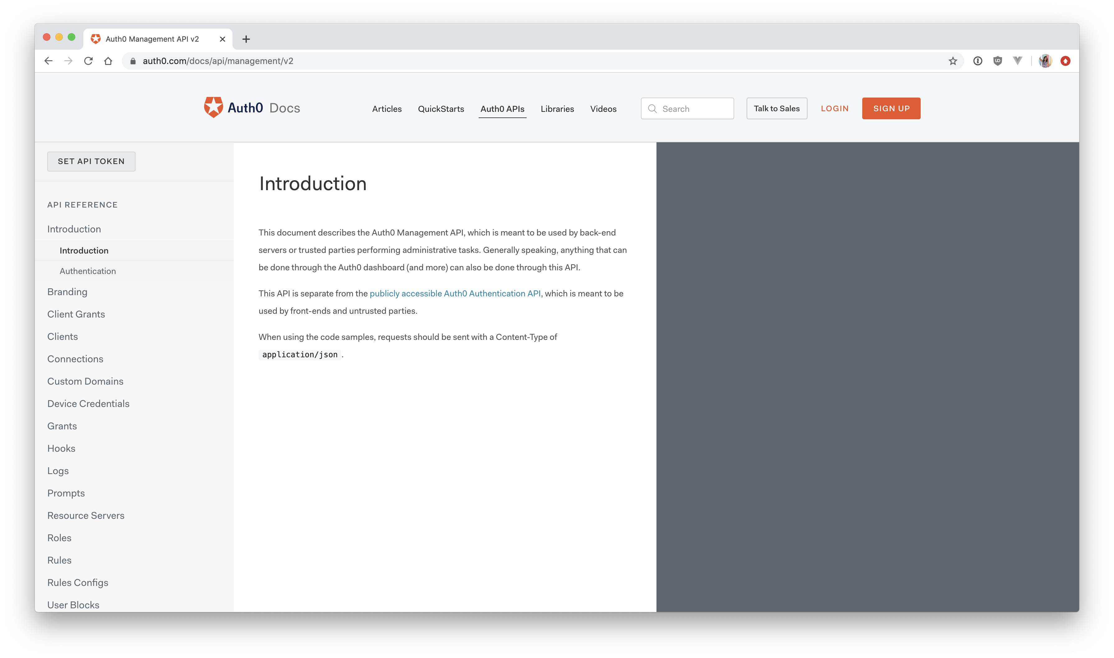 Auth0 Management API explorer