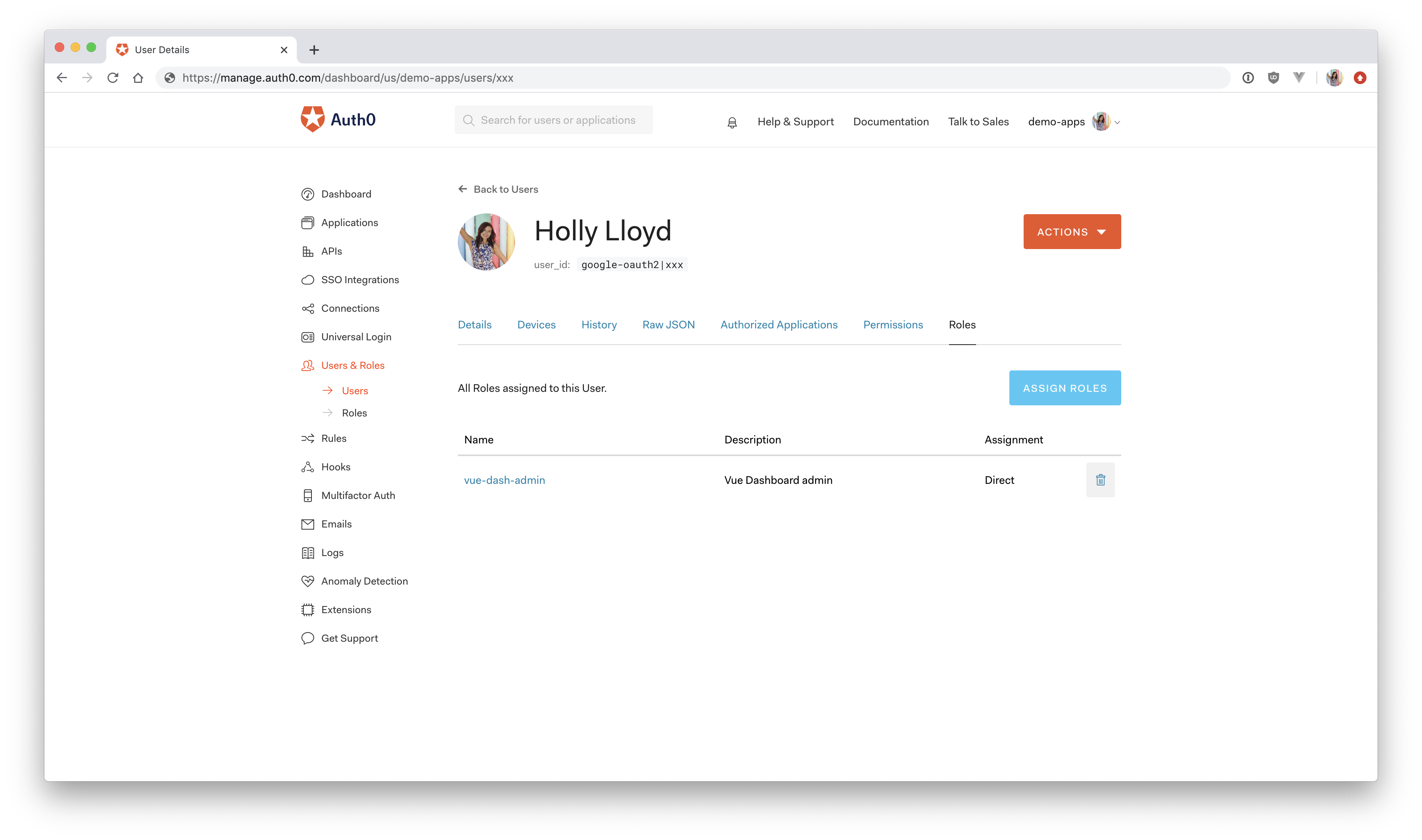 Auth0 dashboard user permissions