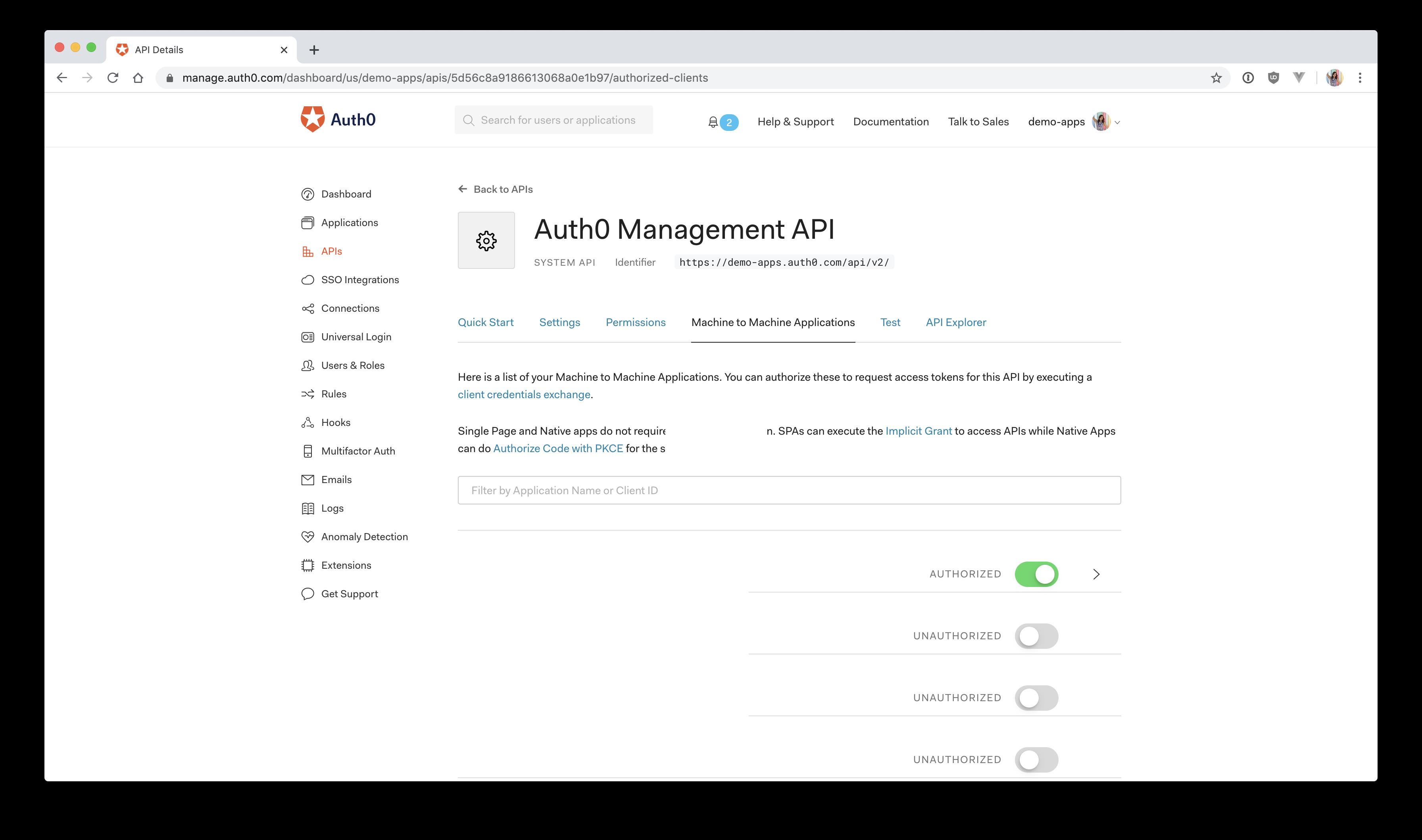 Auth0 authorized API