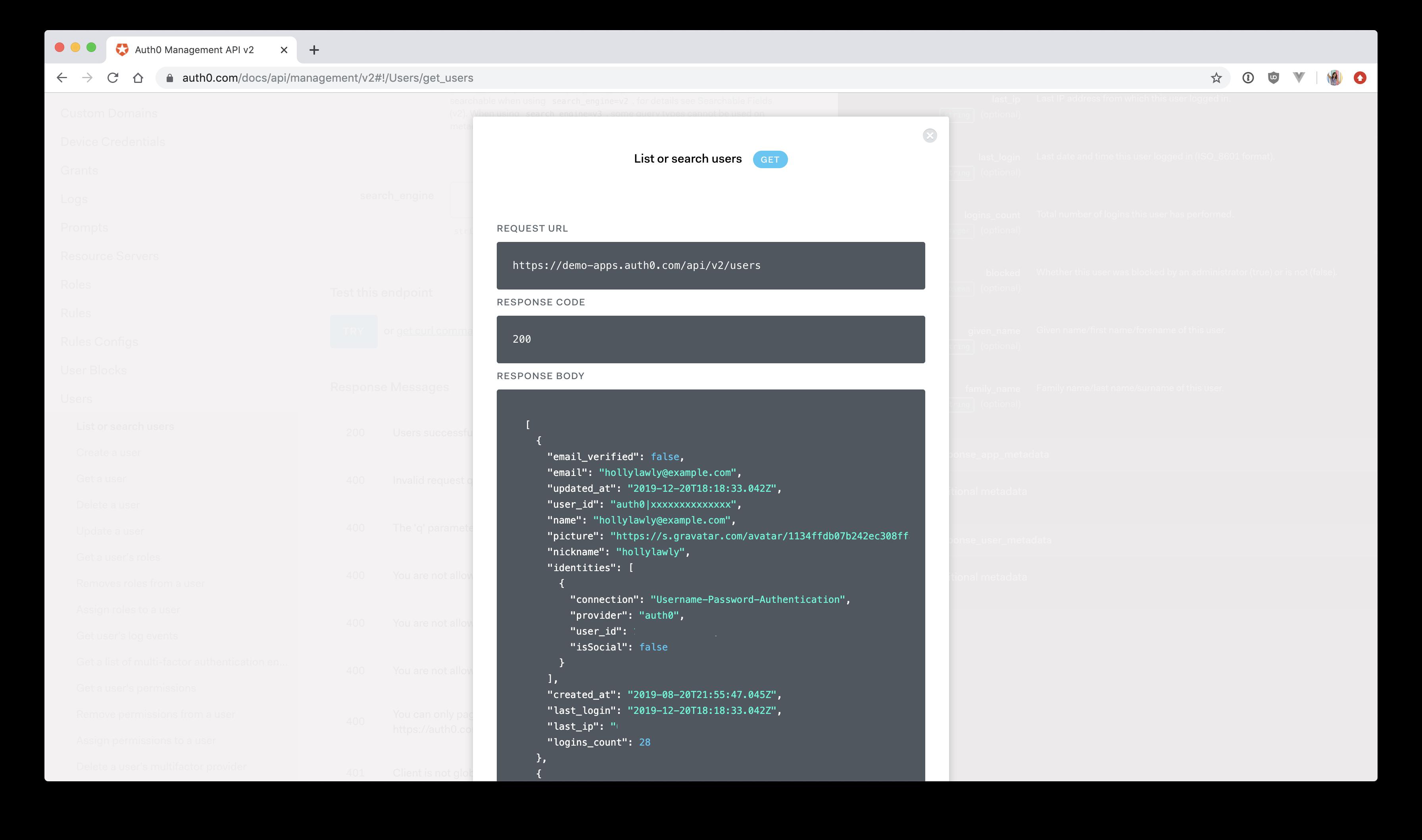 Auth0 management API explorer - get all users