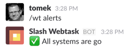 Alerts slash webtasks command