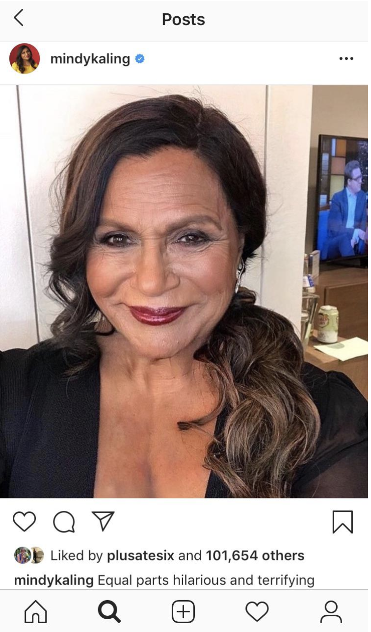 Mindy Kaling Instagram using FaceApp