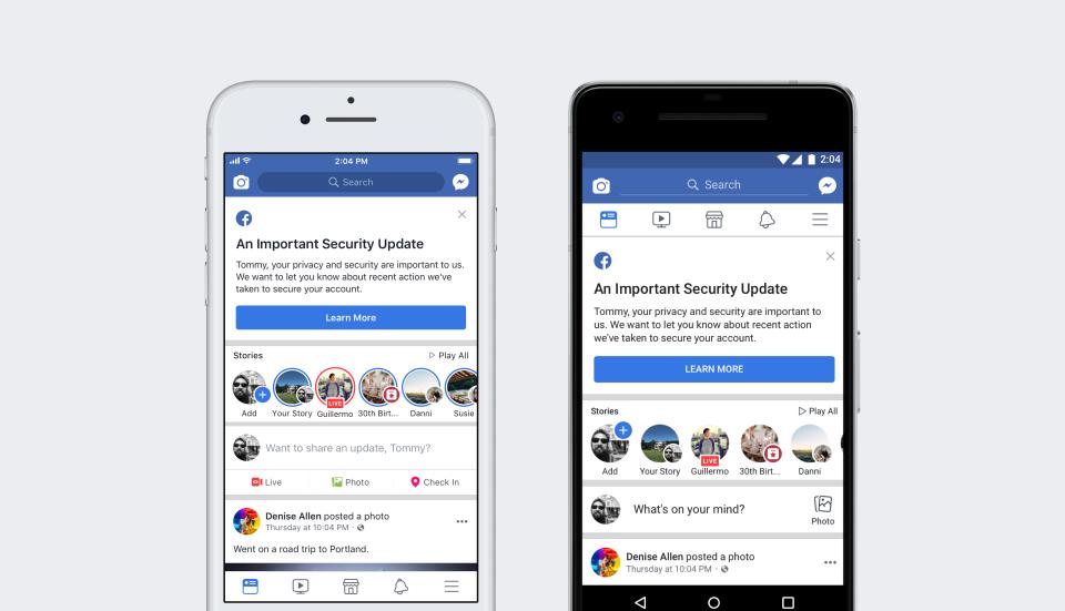 Facebook security breach user notification