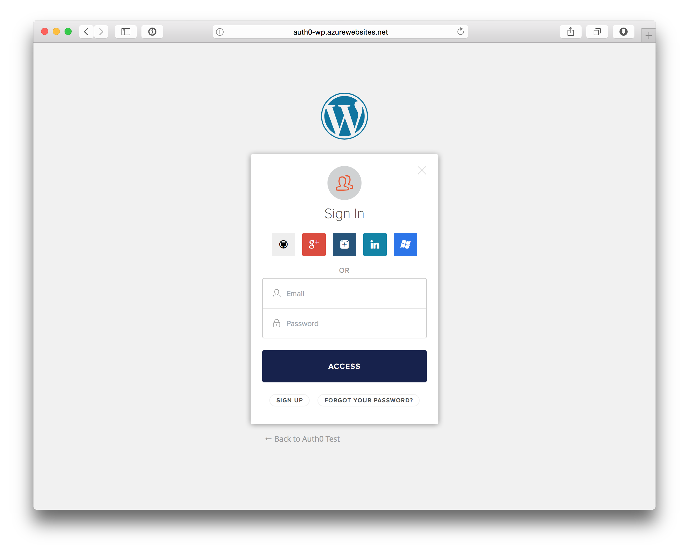Log into a Wordpress site using social login provider
