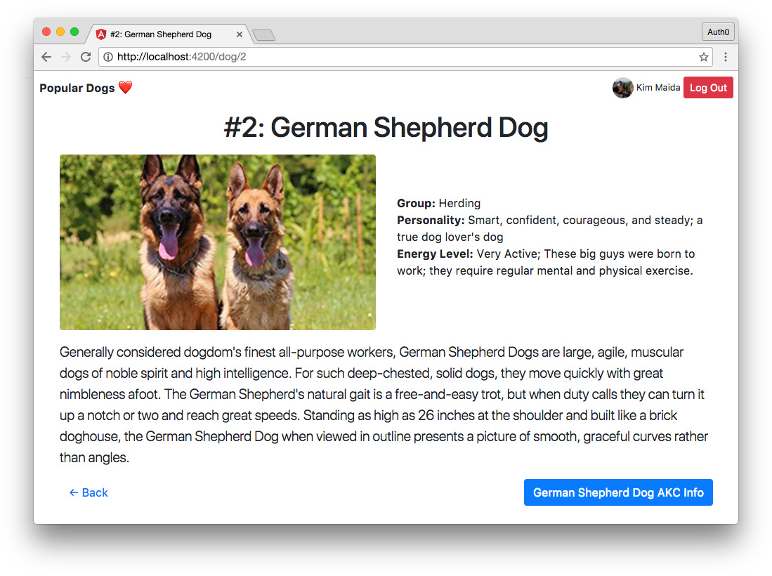 Angular app with async pipe and authentication - dog detail