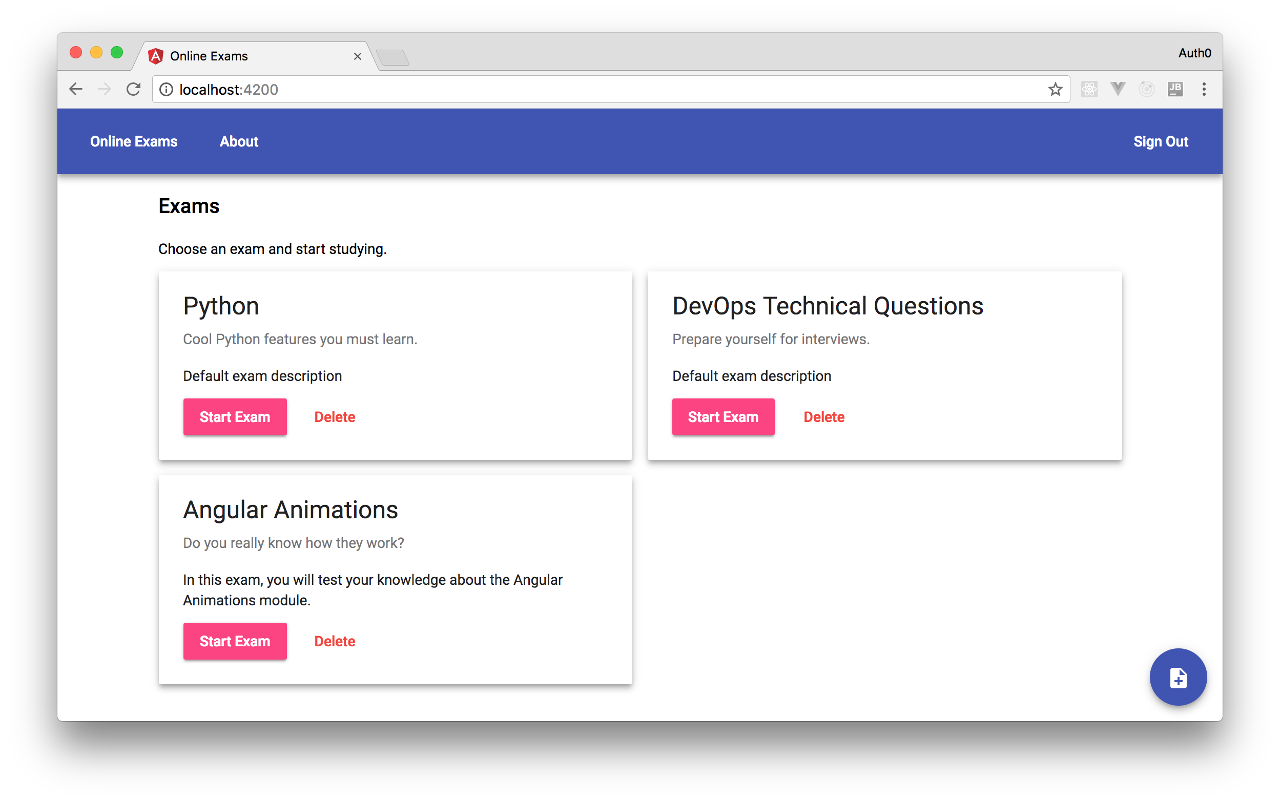 Show exams' long description in your Angular app