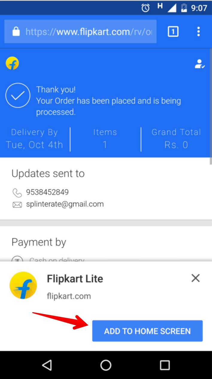 Flipkart Homescreen option