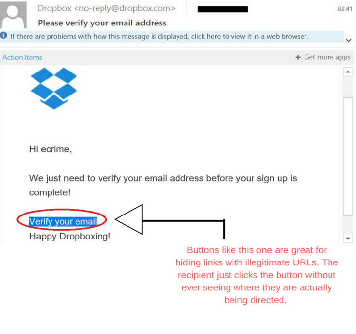 Imitation Dropbox email phishing scam asking for confirmation of a user's e-mail