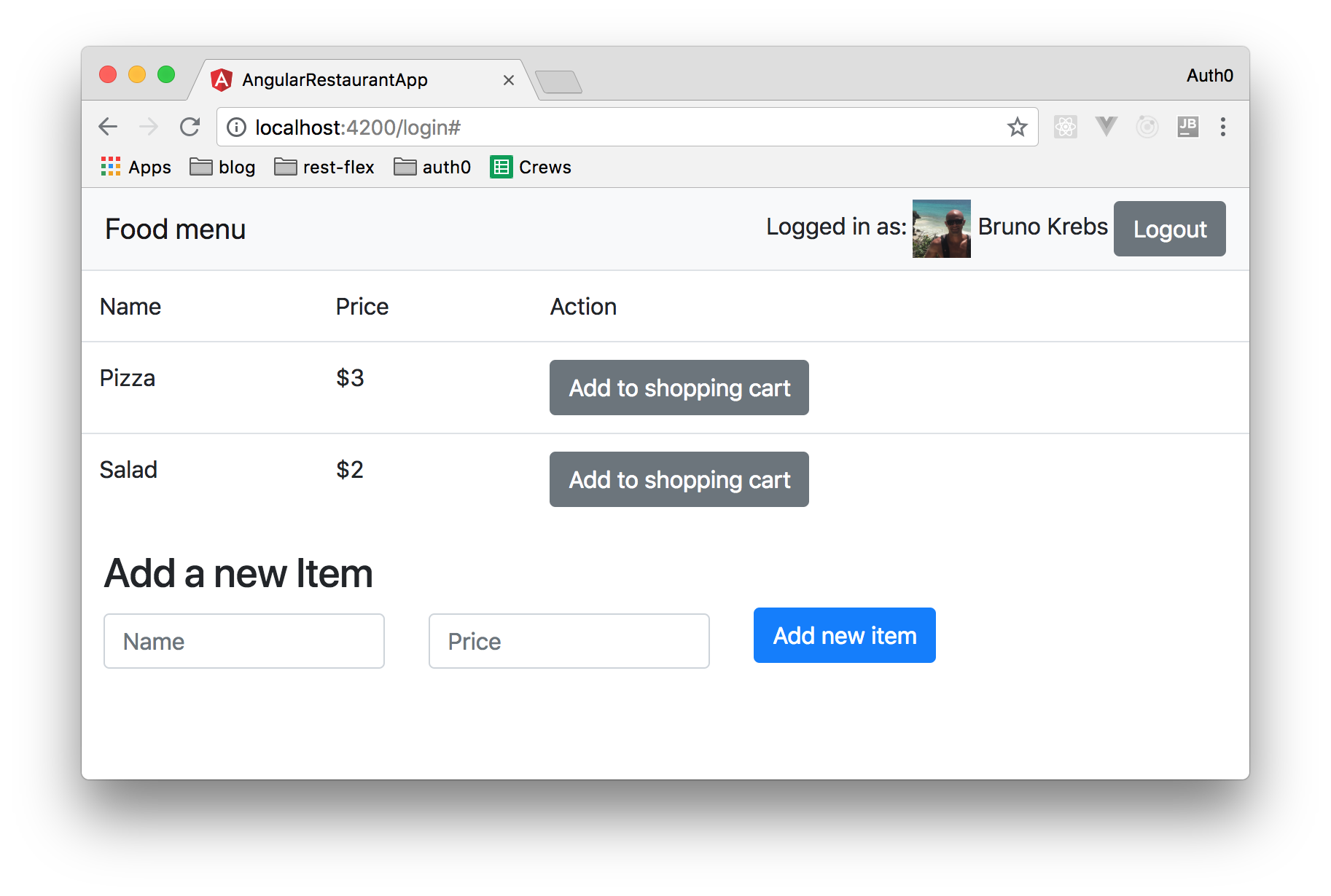 User authenticated with Auth0 on an Angular app