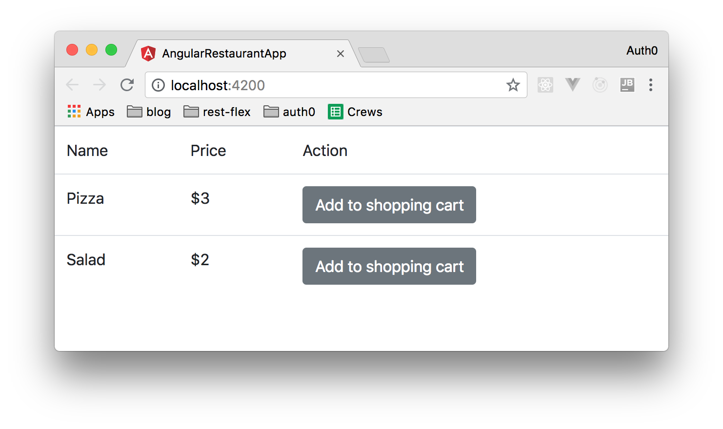 Localhost Angular web app displaying a table of items