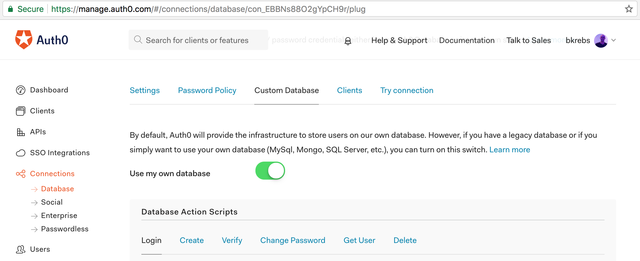 Activating custom database on Auth0