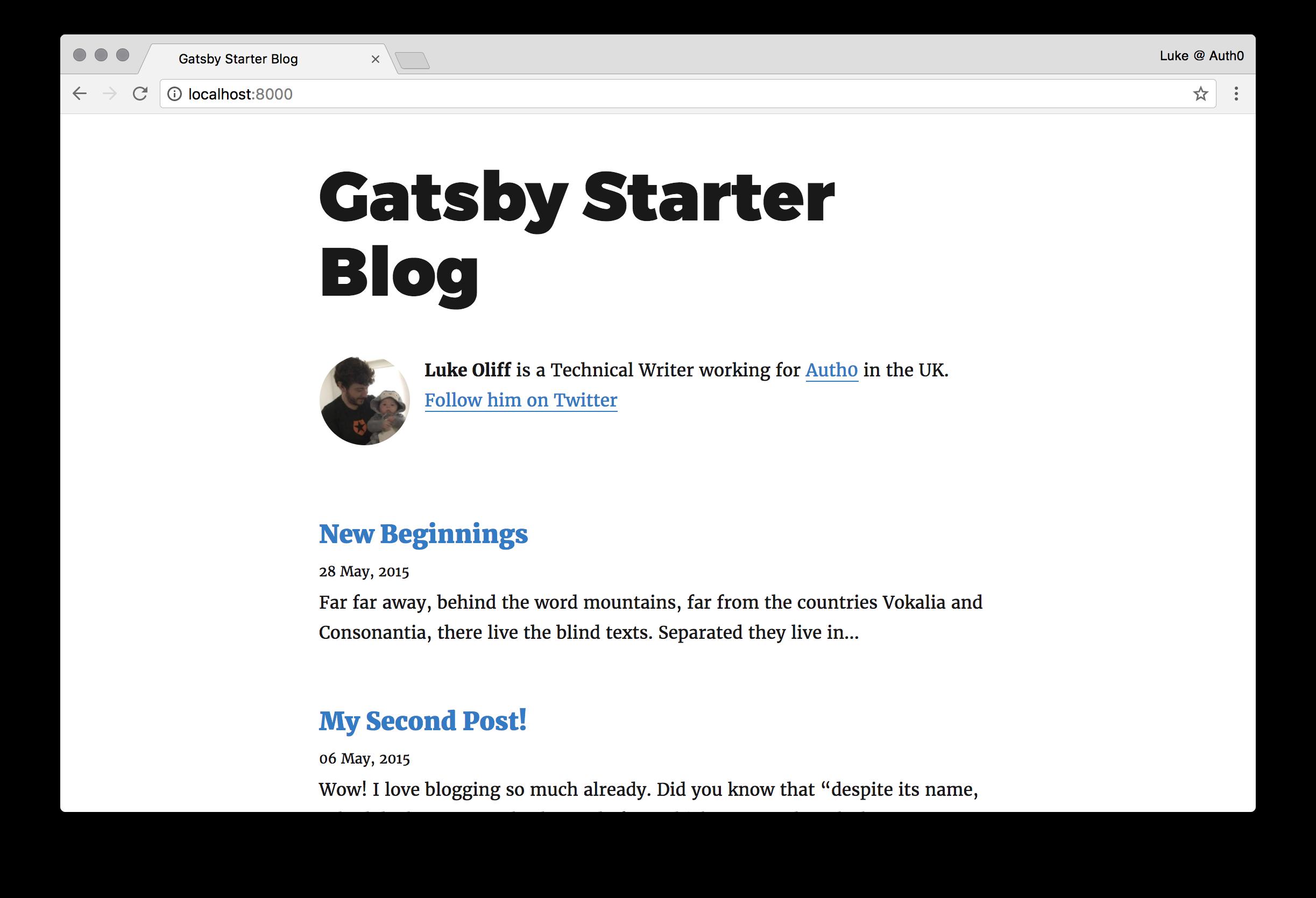 Basic Gatsby install