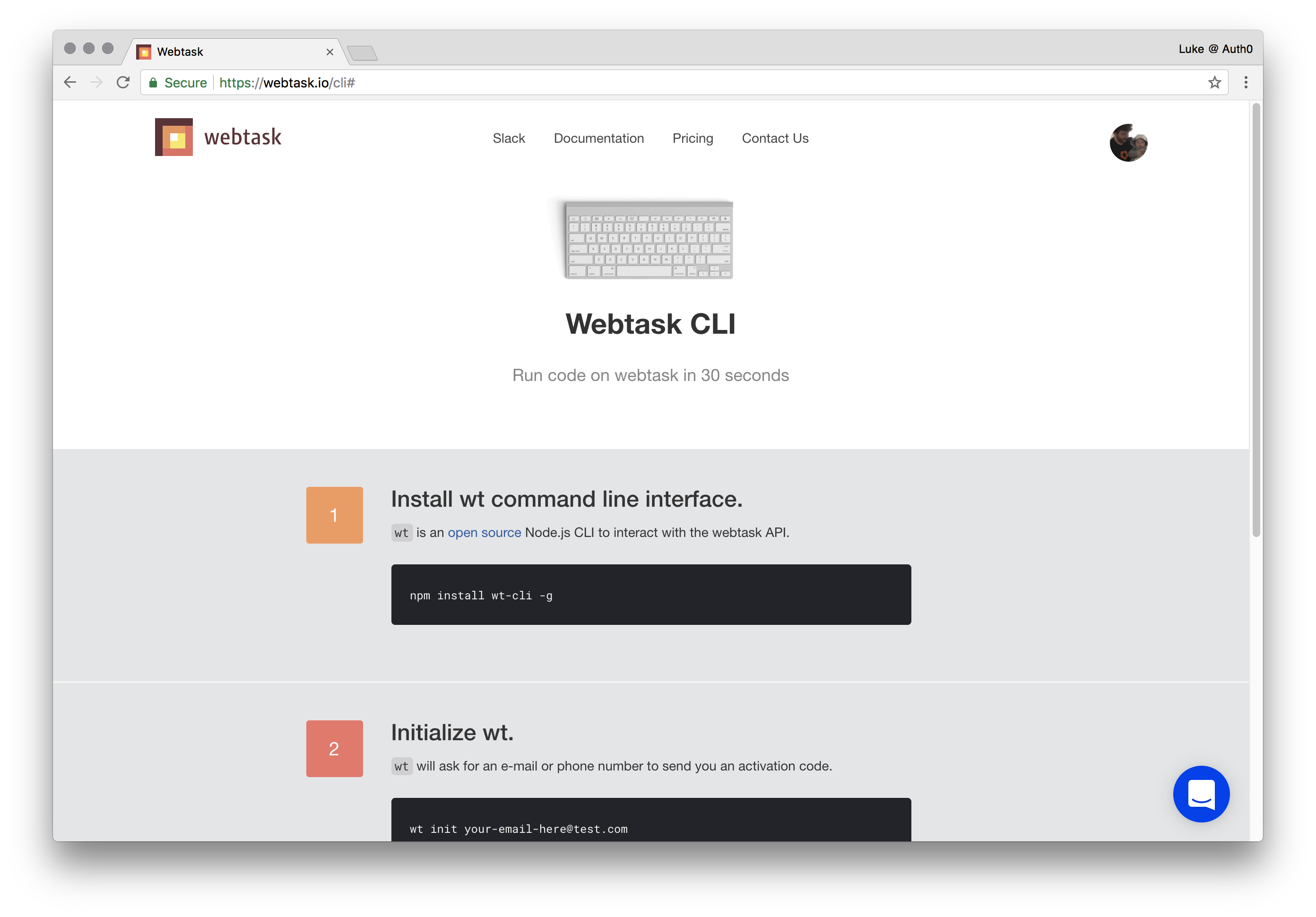 Webtask CLI setup