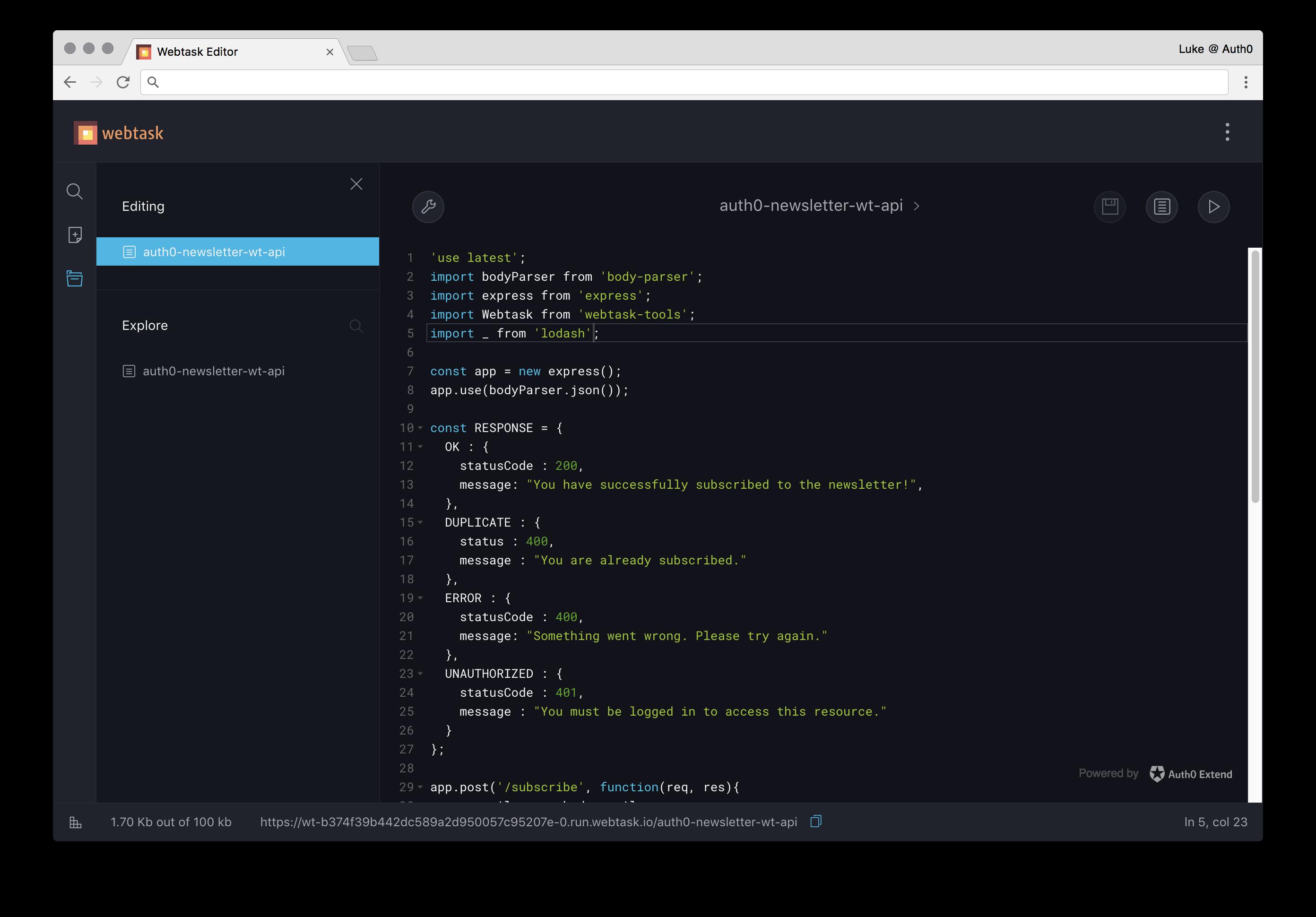 Webtask in editor