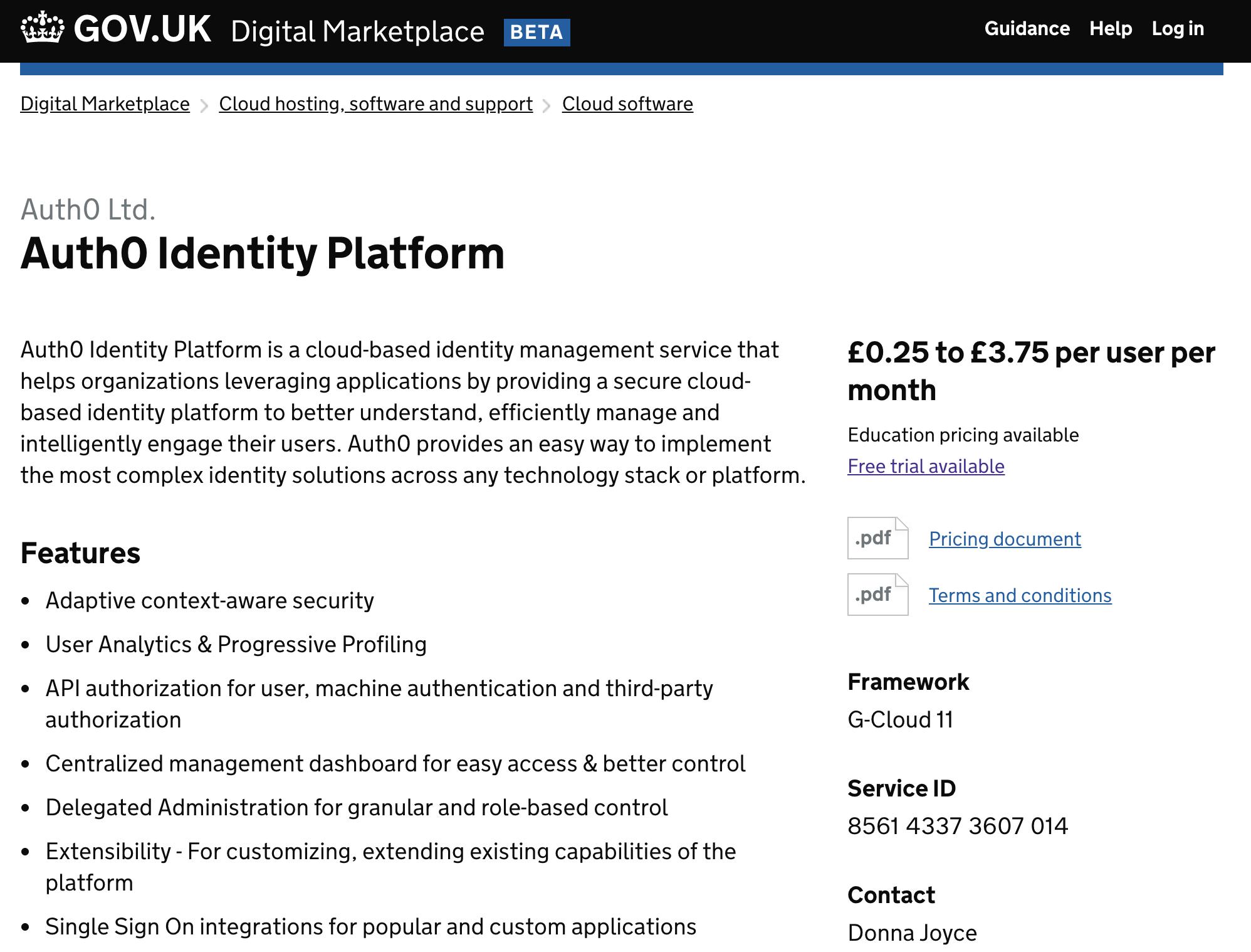 Auth0 listed in UK gov.uk site Digital Marketplace