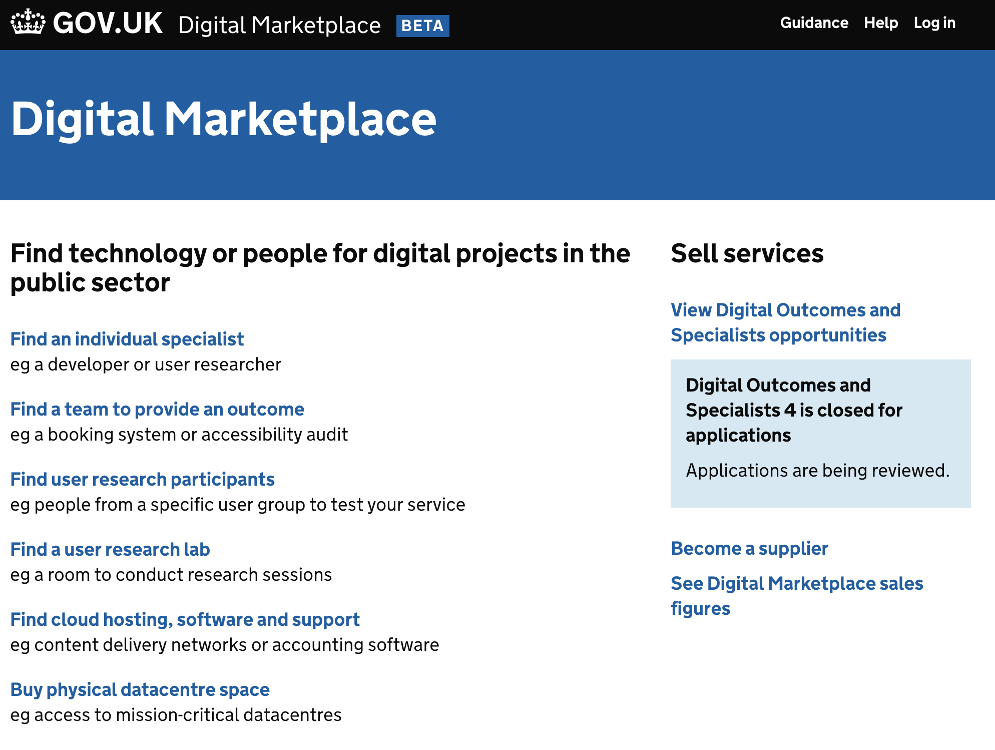 UK gov.uk site Digital Marketplace