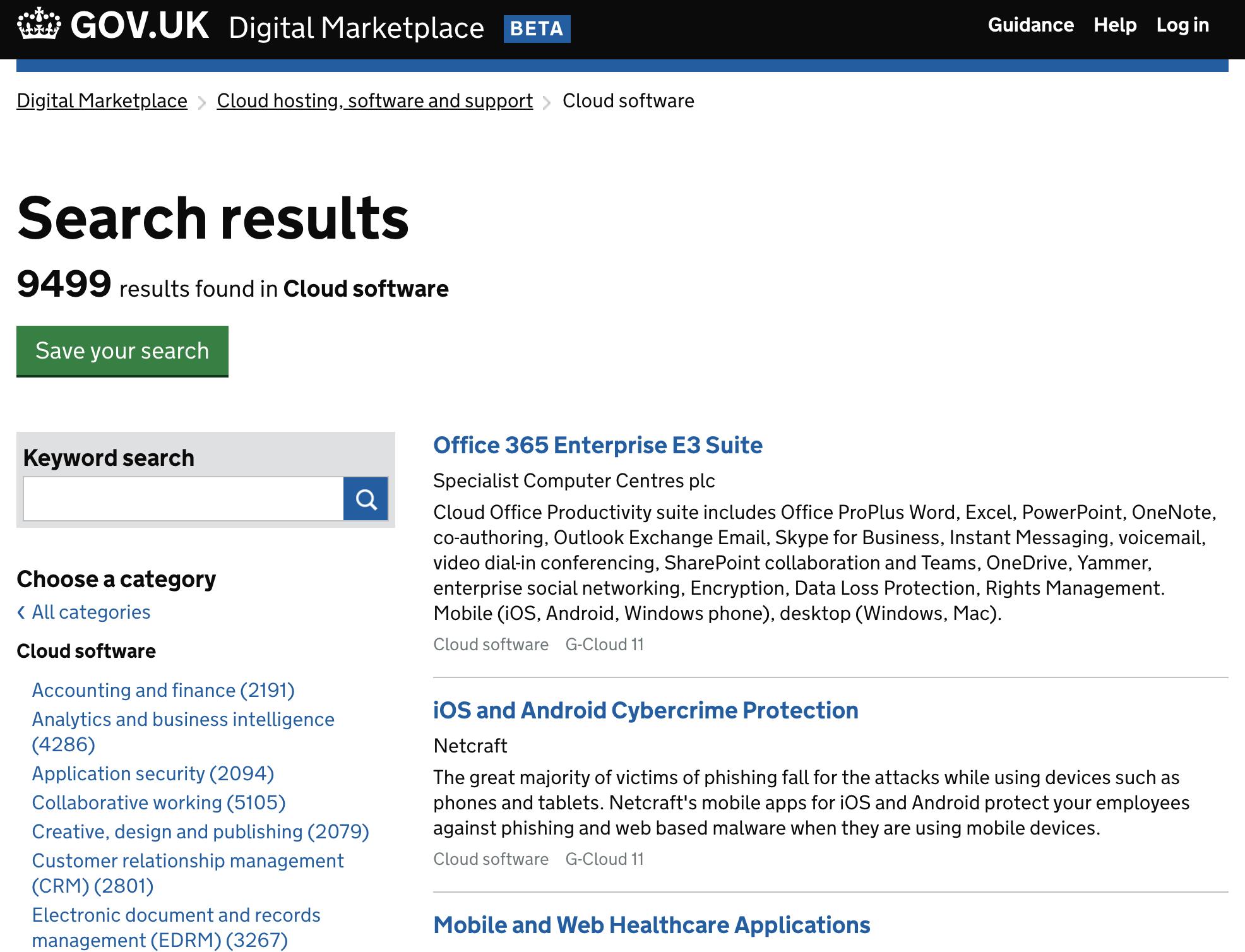 united Kingdom gov.uk site Digital Marketplace