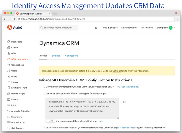 Identity Access Management updates CRM data
