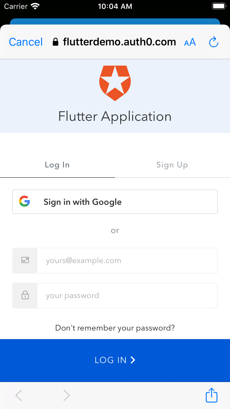 Auth0 Universal Login Page in a Flutter app