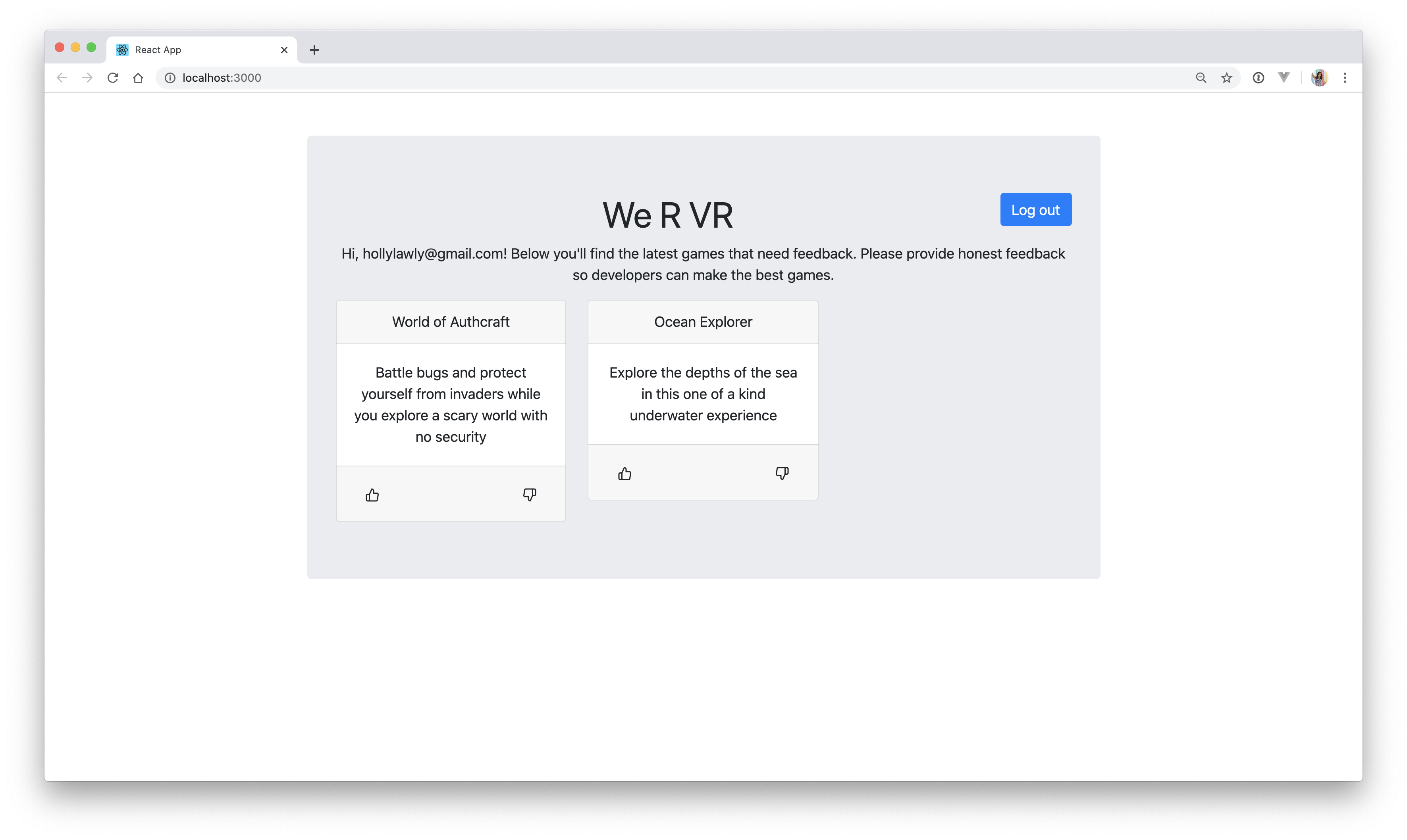 We R VR React Login Page