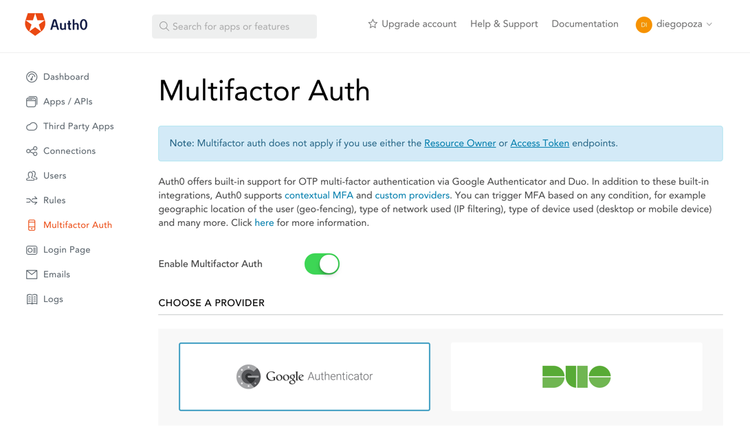 Eanbling Multi-factor Authentication (MFA) from Auth0