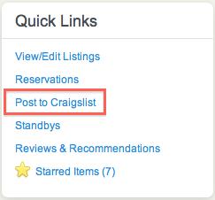 Airbnb post to Craiglist