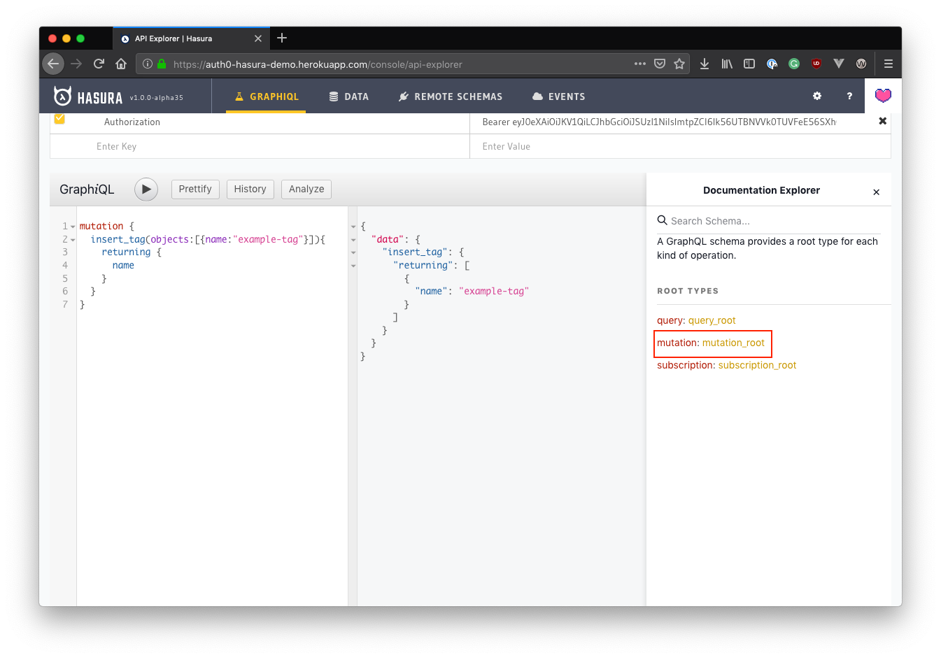 GraphQL API documentation explorer in Hasura showing mutations