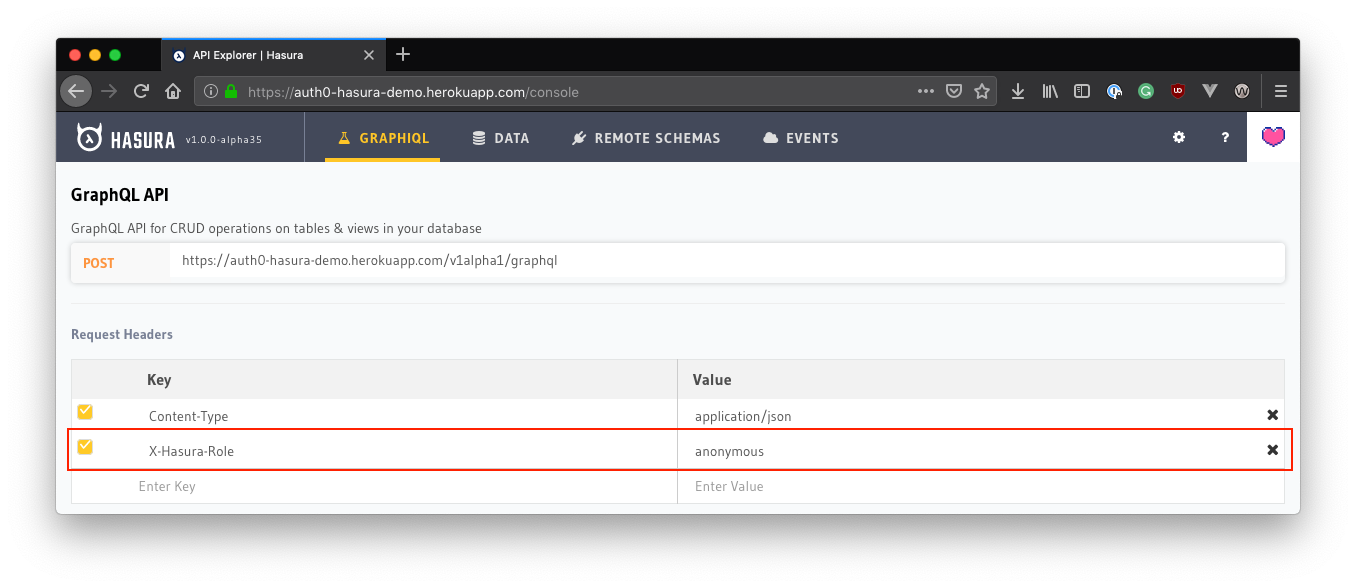 Setting the X-Hasura-Role header to anonymous in the Hasura console