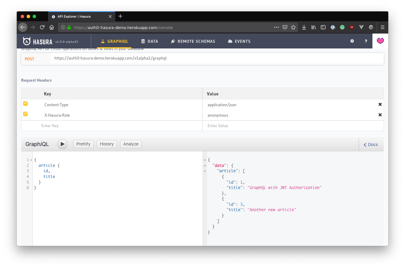 Hasura GraphQL API query explorer - viewing query results