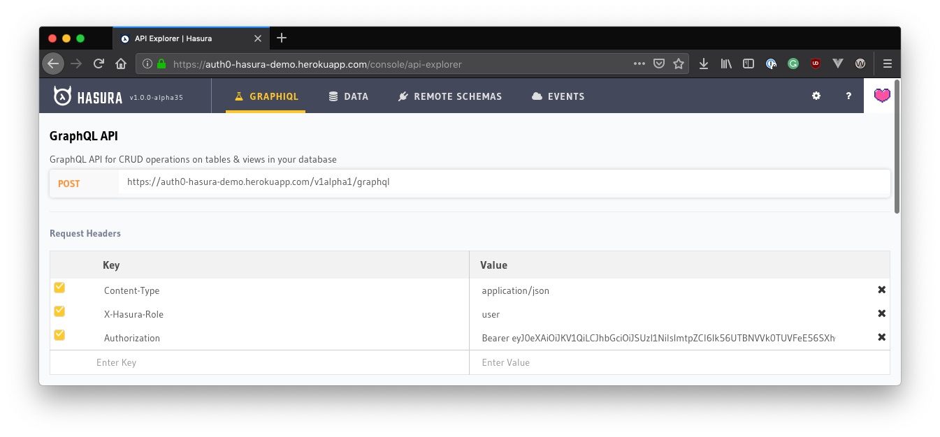 Adding the JWT to authorization request header in Hasura