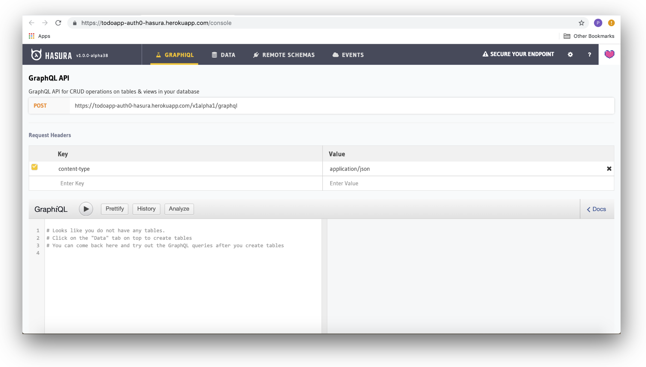 The Hasura Console GraphiQL Query Explorer